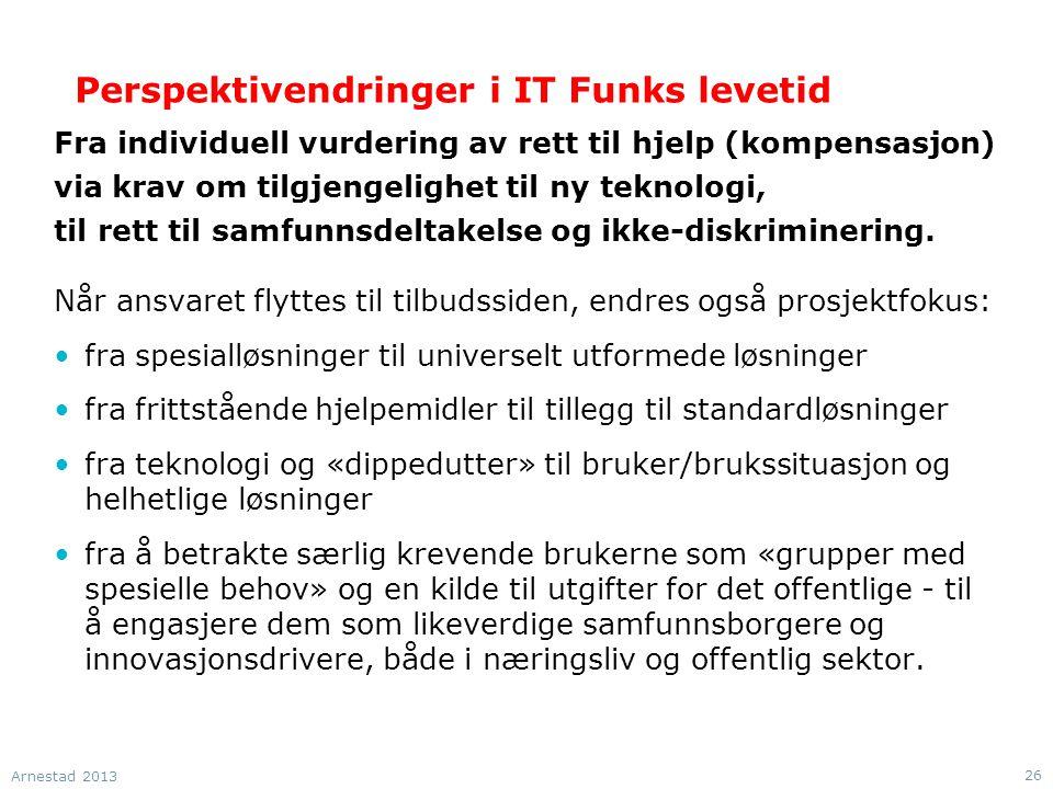 Perspektivendringer i IT Funks levetid Fra individuell vurdering av rett til hjelp (kompensasjon) via krav om tilgjengelighet til ny teknologi, til rett til samfunnsdeltakelse og ikke-diskriminering.