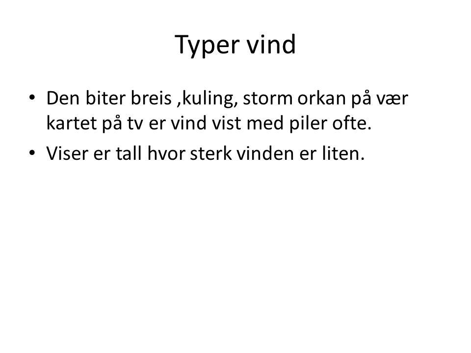 Typer vind • Den biter breis,kuling, storm orkan på vær kartet på tv er vind vist med piler ofte.