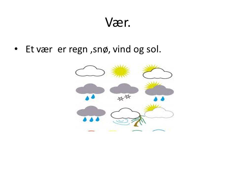 Vær. • Et vær er regn,snø, vind og sol.
