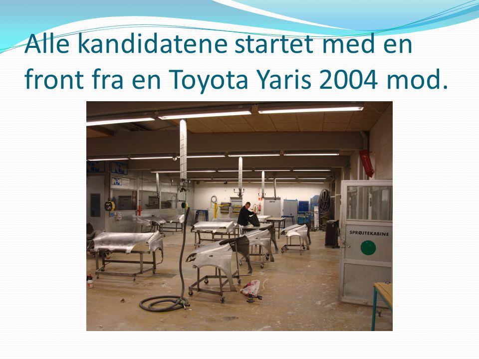 Alle kandidatene startet med en front fra en Toyota Yaris 2004 mod.