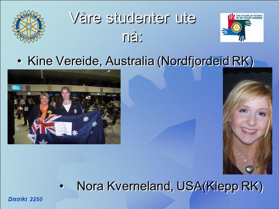 Distrikt 2250 Våre studenter ute nå: •Kine Vereide, Australia (Nordfjordeid RK) • Nora Kverneland, USA(Klepp RK) •Kine Vereide, Australia (Nordfjordei