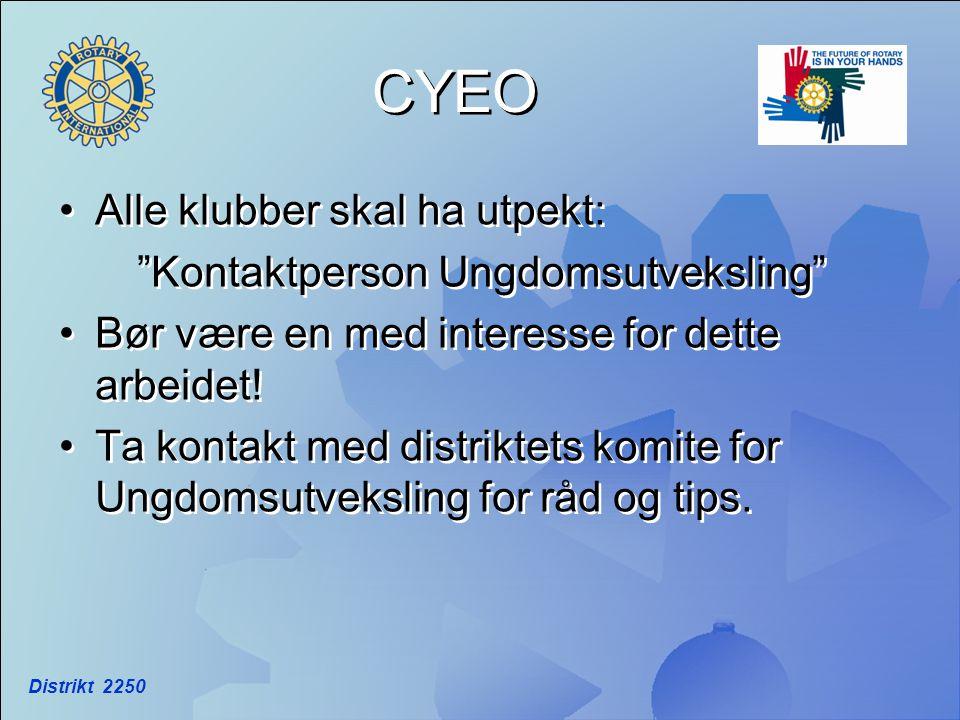 "Distrikt 2250 CYEO •Alle klubber skal ha utpekt: ""Kontaktperson Ungdomsutveksling"" •Bør være en med interesse for dette arbeidet! •Ta kontakt med dist"