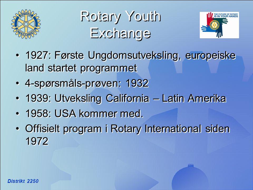 Rotary Youth Exchange •1927: Første Ungdomsutveksling, europeiske land startet programmet •4-spørsmåls-prøven: 1932 •1939: Utveksling California – Lat