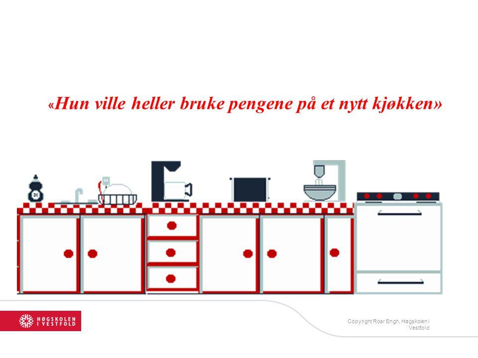 « Hun ville heller bruke pengene på et nytt kjøkken» Copyright Roar Engh, Høgskolen i Vestfold