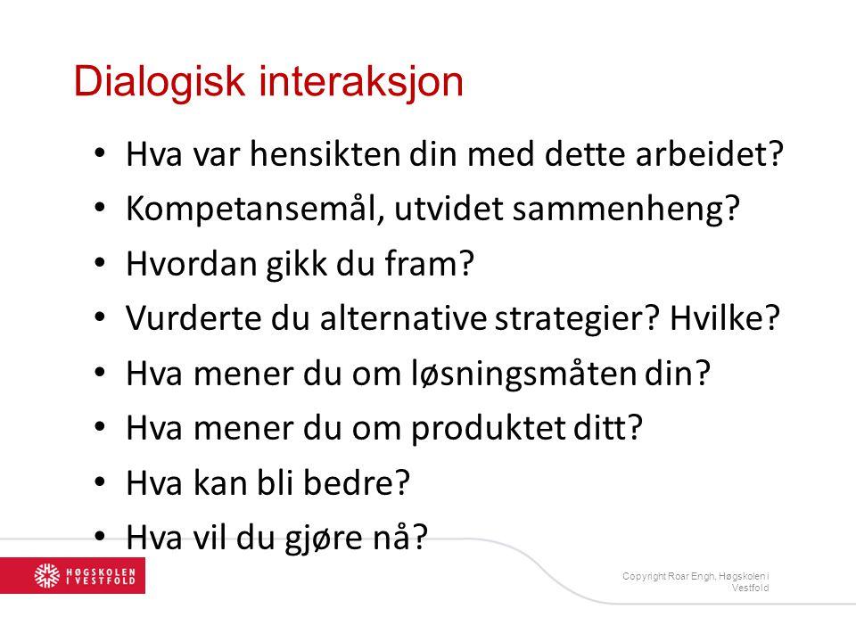 Dialogisk interaksjon • Hva var hensikten din med dette arbeidet? • Kompetansemål, utvidet sammenheng? • Hvordan gikk du fram? • Vurderte du alternati