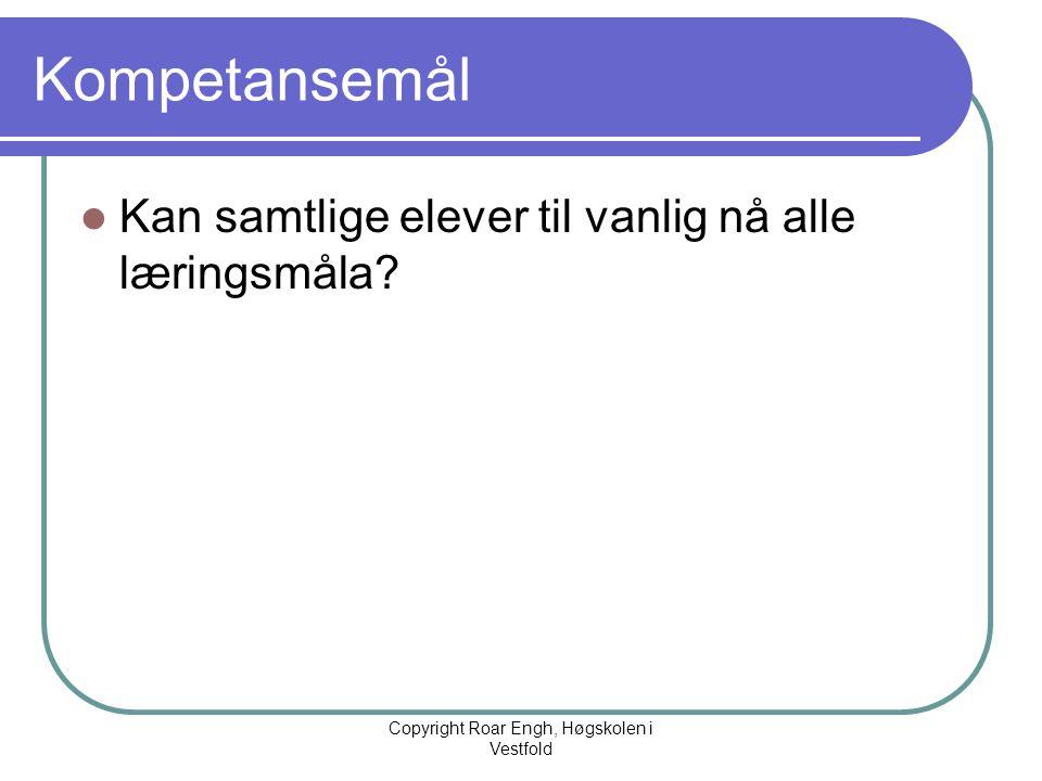 Kompetansemål  Kan samtlige elever til vanlig nå alle læringsmåla? Copyright Roar Engh, Høgskolen i Vestfold