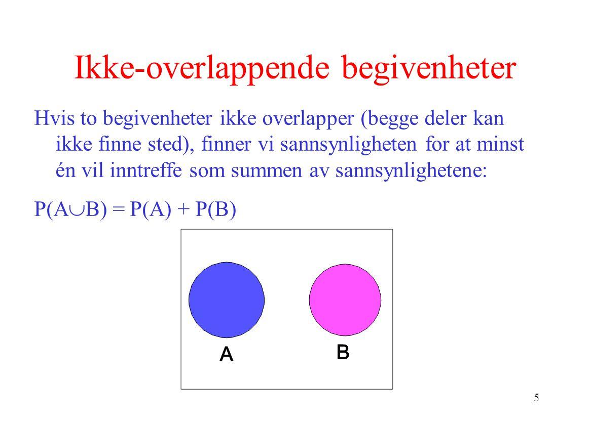 5 Ikke-overlappende begivenheter Hvis to begivenheter ikke overlapper (begge deler kan ikke finne sted), finner vi sannsynligheten for at minst én vil inntreffe som summen av sannsynlighetene: P(A  B) = P(A) + P(B)