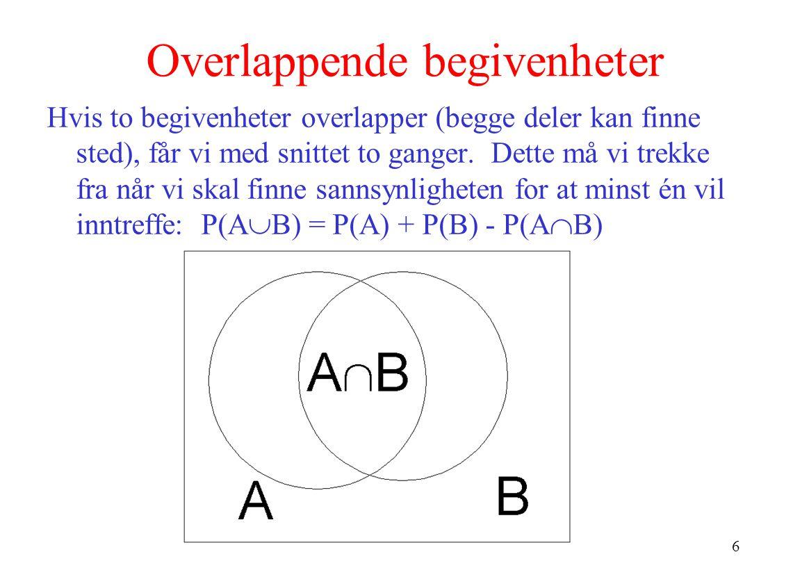 6 Overlappende begivenheter Hvis to begivenheter overlapper (begge deler kan finne sted), får vi med snittet to ganger. Dette må vi trekke fra når vi