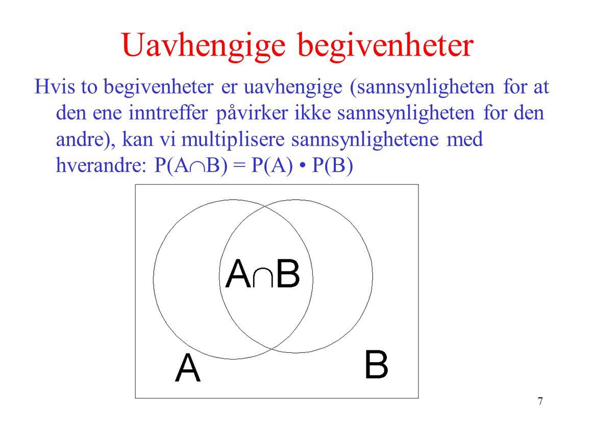 7 Uavhengige begivenheter Hvis to begivenheter er uavhengige (sannsynligheten for at den ene inntreffer påvirker ikke sannsynligheten for den andre), kan vi multiplisere sannsynlighetene med hverandre: P(A  B) = P(A) • P(B)