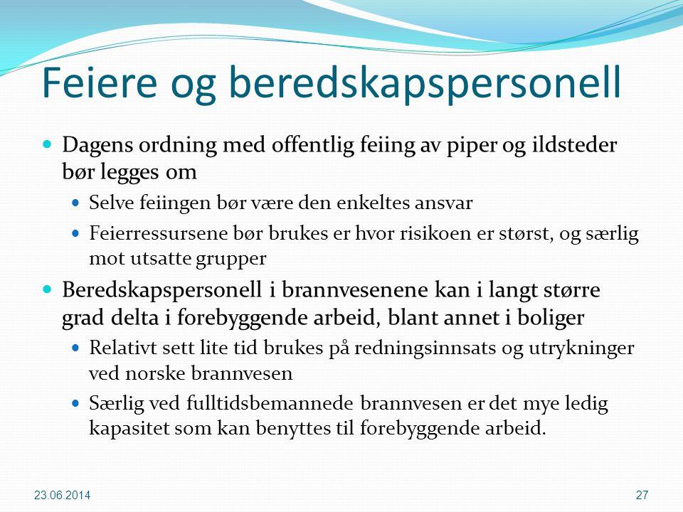 Feiere og beredskapspersonell  Dagens ordning med offentlig feiing av piper og ildsteder bør legges om  Selve feiingen bør være den enkeltes ansvar