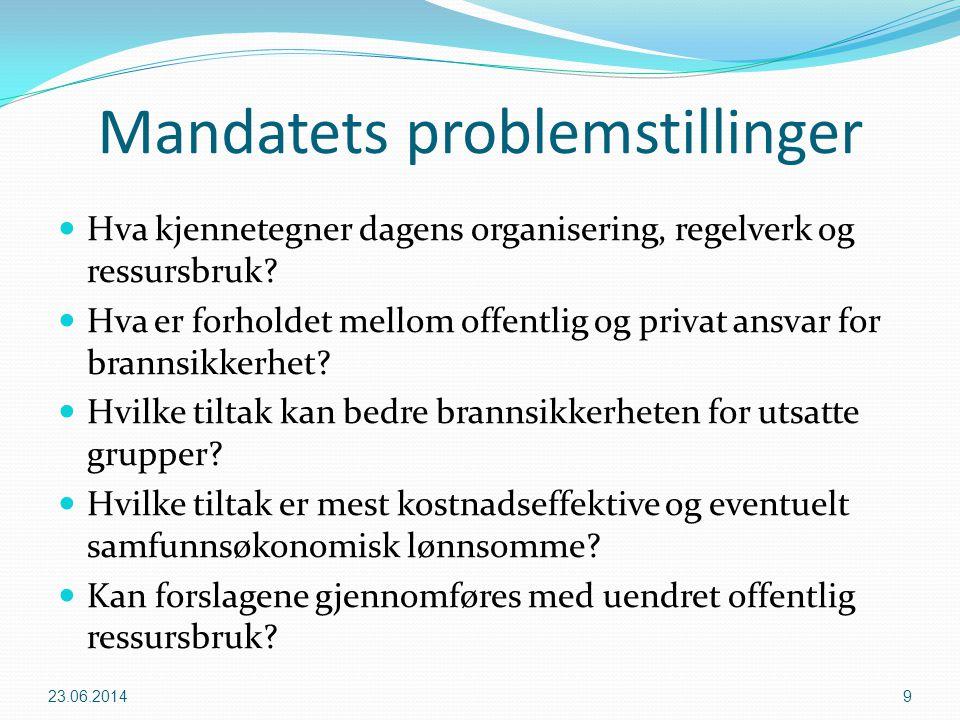 Mandatets problemstillinger  Hva kjennetegner dagens organisering, regelverk og ressursbruk?  Hva er forholdet mellom offentlig og privat ansvar for