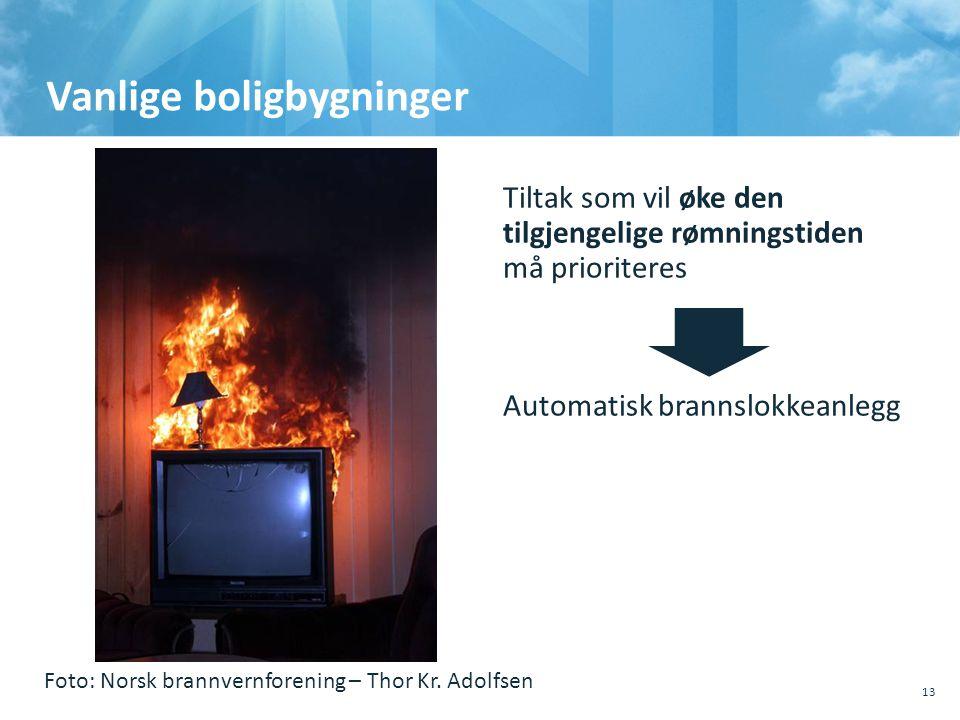 Vanlige boligbygninger 13 Tiltak som vil øke den tilgjengelige rømningstiden må prioriteres Automatisk brannslokkeanlegg Foto: Norsk brannvernforening – Thor Kr.