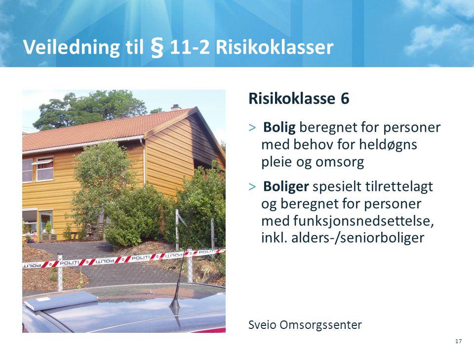 Veiledning til § 11-2 Risikoklasser 17 Risikoklasse 6 >Bolig beregnet for personer med behov for heldøgns pleie og omsorg >Boliger spesielt tilrettelagt og beregnet for personer med funksjonsnedsettelse, inkl.