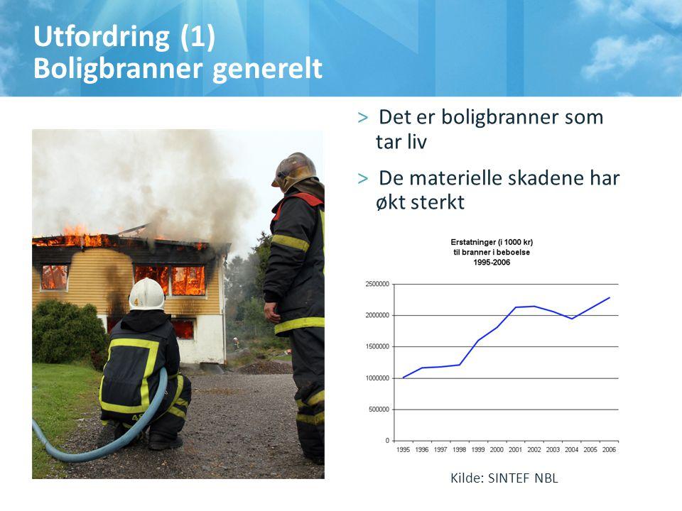 Utfordring (1) Boligbranner generelt >Det er boligbranner som tar liv >De materielle skadene har økt sterkt Kilde: SINTEF NBL