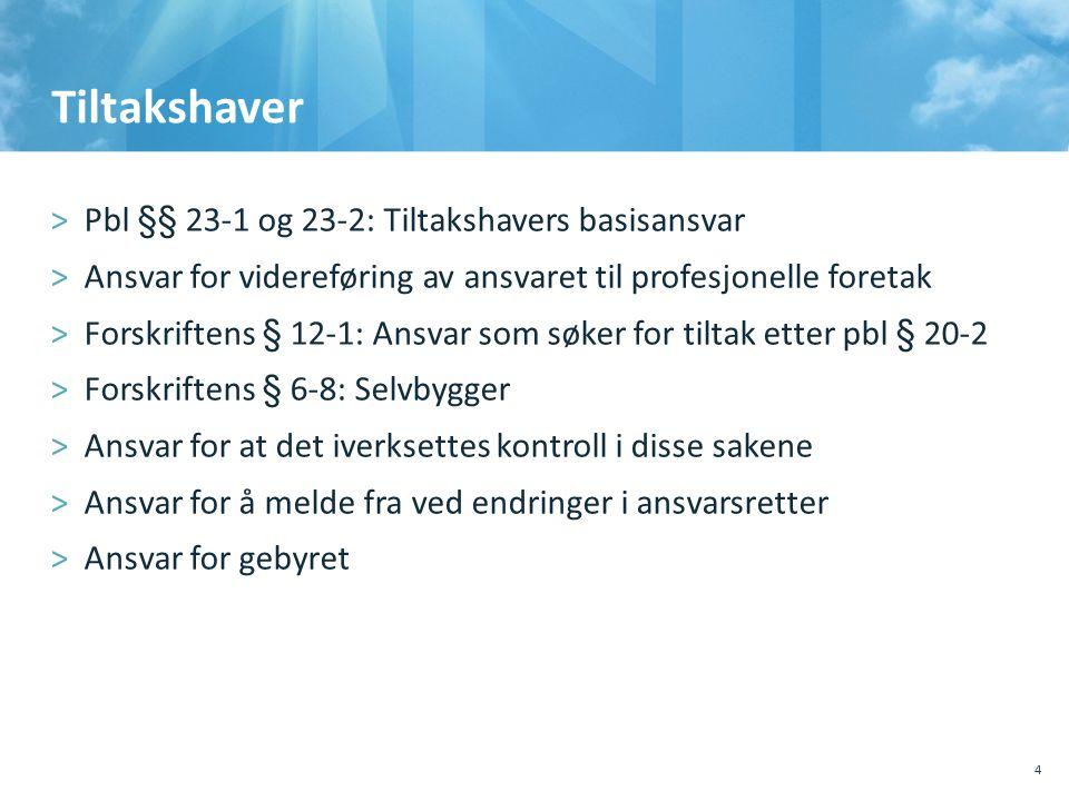 Tiltakshaver >Pbl §§ 23-1 og 23-2: Tiltakshavers basisansvar >Ansvar for videreføring av ansvaret til profesjonelle foretak >Forskriftens § 12-1: Ansv