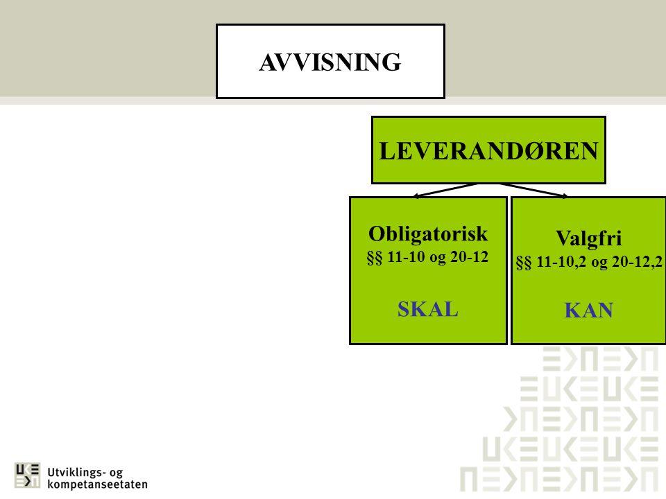 AVVISNING LEVERANDØREN Obligatorisk §§ 11-10 og 20-12 SKAL Valgfri §§ 11-10,2 og 20-12,2 KAN