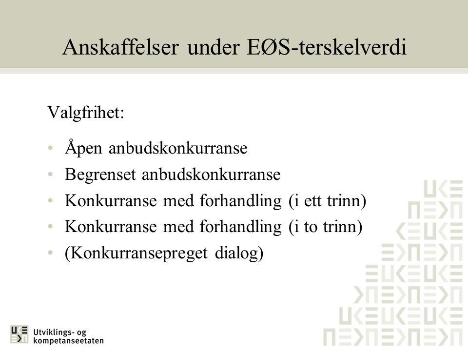 Anskaffelser under EØS-terskelverdi Valgfrihet: •Åpen anbudskonkurranse •Begrenset anbudskonkurranse •Konkurranse med forhandling (i ett trinn) •Konku