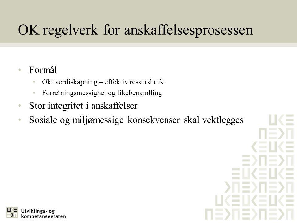 OK regelverk for anskaffelsesprosessen •Formål •Økt verdiskapning – effektiv ressursbruk •Forretningsmessighet og likebenandling •Stor integritet i an