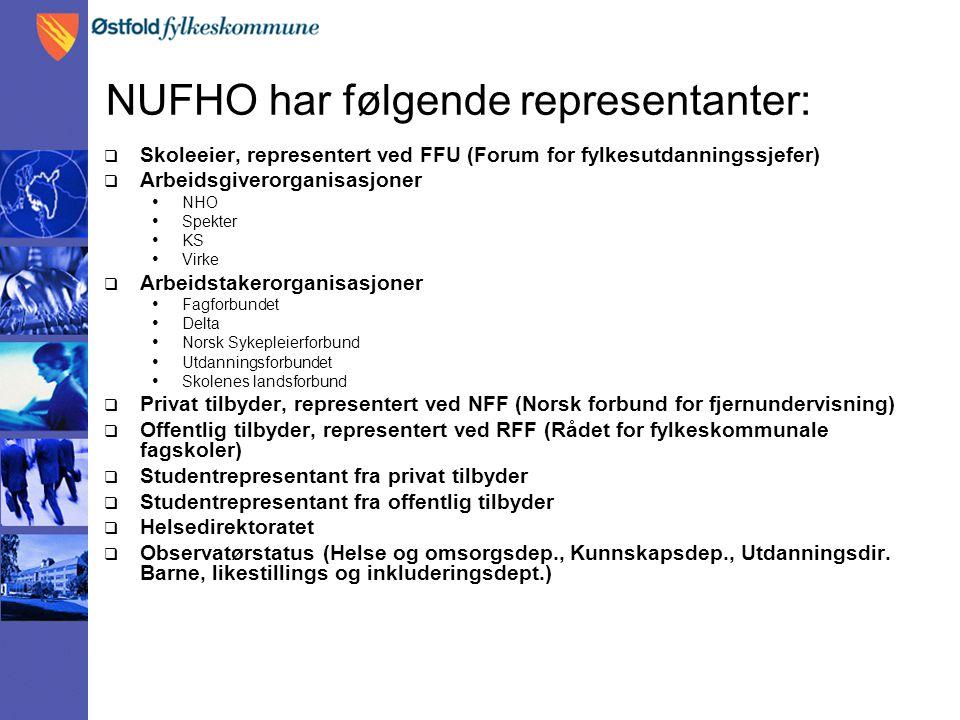 NUFHO har følgende representanter:  Skoleeier, representert ved FFU (Forum for fylkesutdanningssjefer)  Arbeidsgiverorganisasjoner • NHO • Spekter •