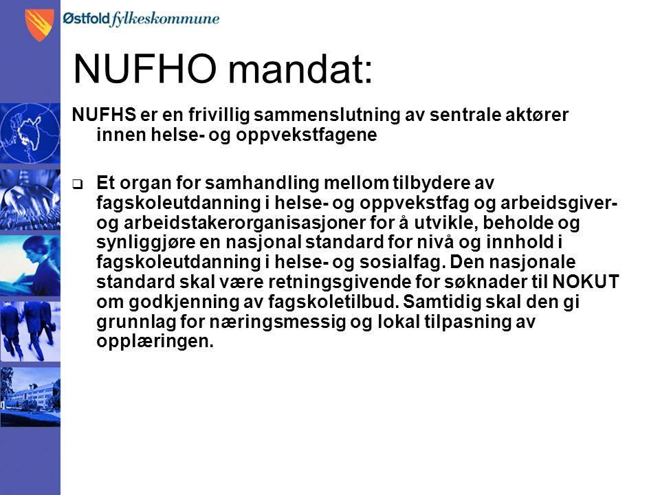 NUFHO mandat: NUFHS er en frivillig sammenslutning av sentrale aktører innen helse- og oppvekstfagene  Et organ for samhandling mellom tilbydere av fagskoleutdanning i helse- og oppvekstfag og arbeidsgiver- og arbeidstakerorganisasjoner for å utvikle, beholde og synliggjøre en nasjonal standard for nivå og innhold i fagskoleutdanning i helse- og sosialfag.