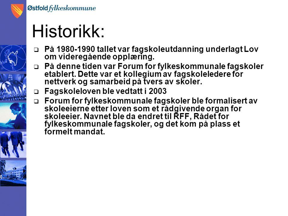 Historikk:  På 1980-1990 tallet var fagskoleutdanning underlagt Lov om videregående opplæring.  På denne tiden var Forum for fylkeskommunale fagskol