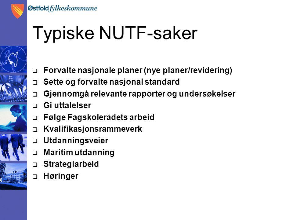 Typiske NUTF-saker  Forvalte nasjonale planer (nye planer/revidering)  Sette og forvalte nasjonal standard  Gjennomgå relevante rapporter og unders