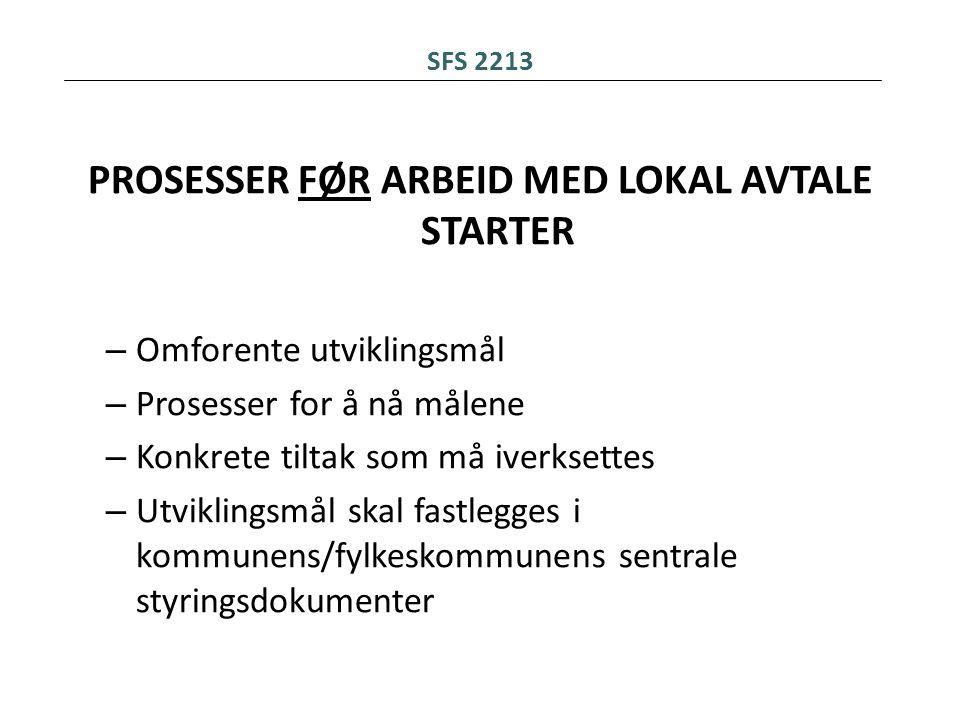 SFS 2213 PROSESSER FØR ARBEID MED LOKAL AVTALE STARTER – Omforente utviklingsmål – Prosesser for å nå målene – Konkrete tiltak som må iverksettes – Ut
