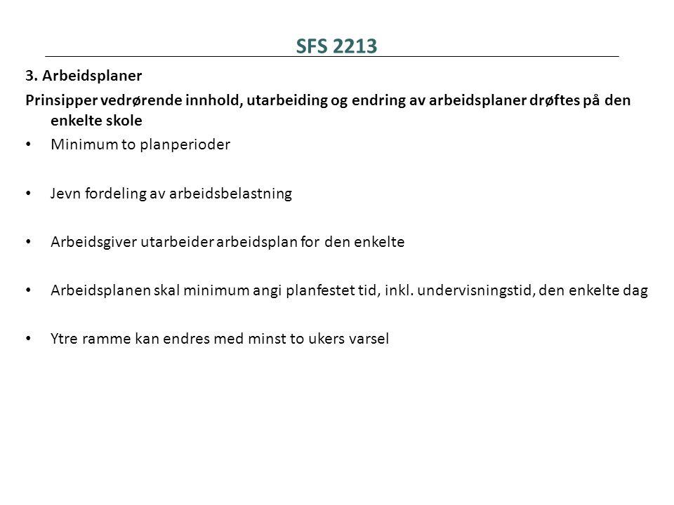 SFS 2213 3. Arbeidsplaner Prinsipper vedrørende innhold, utarbeiding og endring av arbeidsplaner drøftes på den enkelte skole • Minimum to planperiode