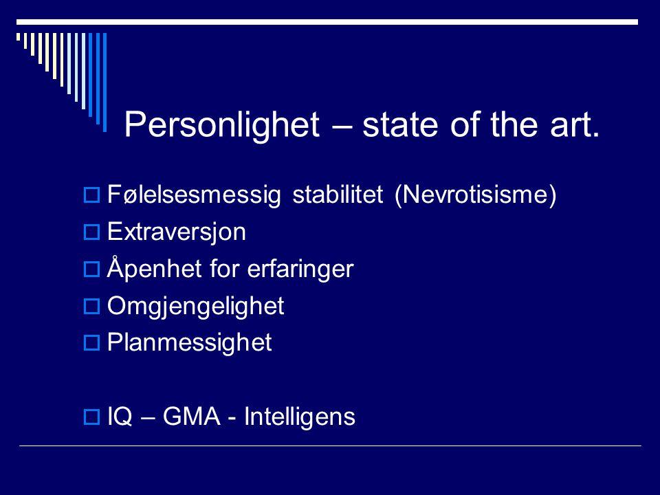 Personlighet – state of the art.  Følelsesmessig stabilitet (Nevrotisisme)  Extraversjon  Åpenhet for erfaringer  Omgjengelighet  Planmessighet 