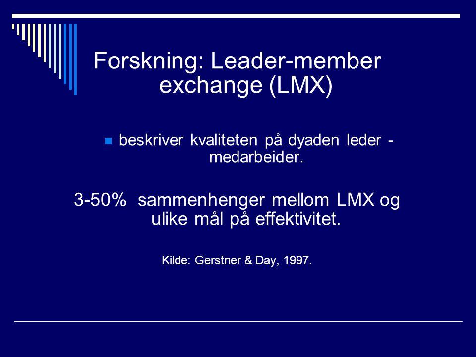 Forskning: Leader-member exchange (LMX)  beskriver kvaliteten på dyaden leder - medarbeider. 3-50% sammenhenger mellom LMX og ulike mål på effektivit