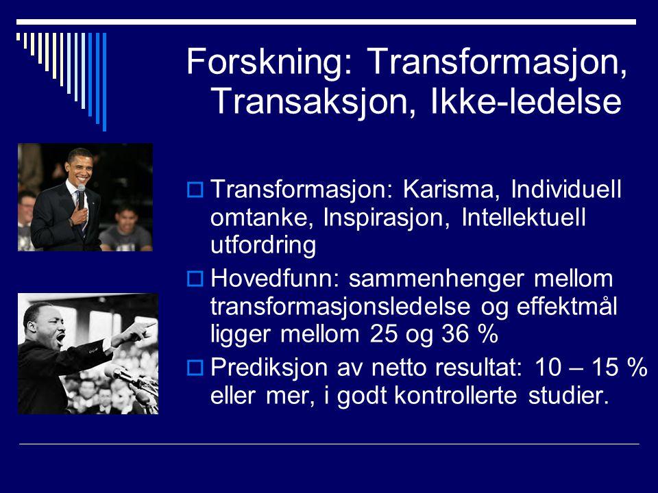 Forskning: Transformasjon, Transaksjon, Ikke-ledelse  Transformasjon: Karisma, Individuell omtanke, Inspirasjon, Intellektuell utfordring  Hovedfunn