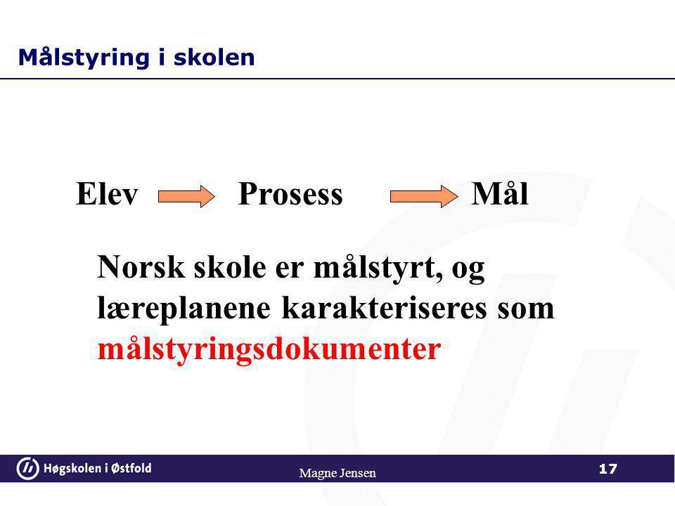 Magne Jensen 16 FRA LÆREPLANMÅL TIL LÆRINGSMÅL Analyse av læreplanmål Konkretisering, formulering i atferdstermer Formulering av læringsmål for område