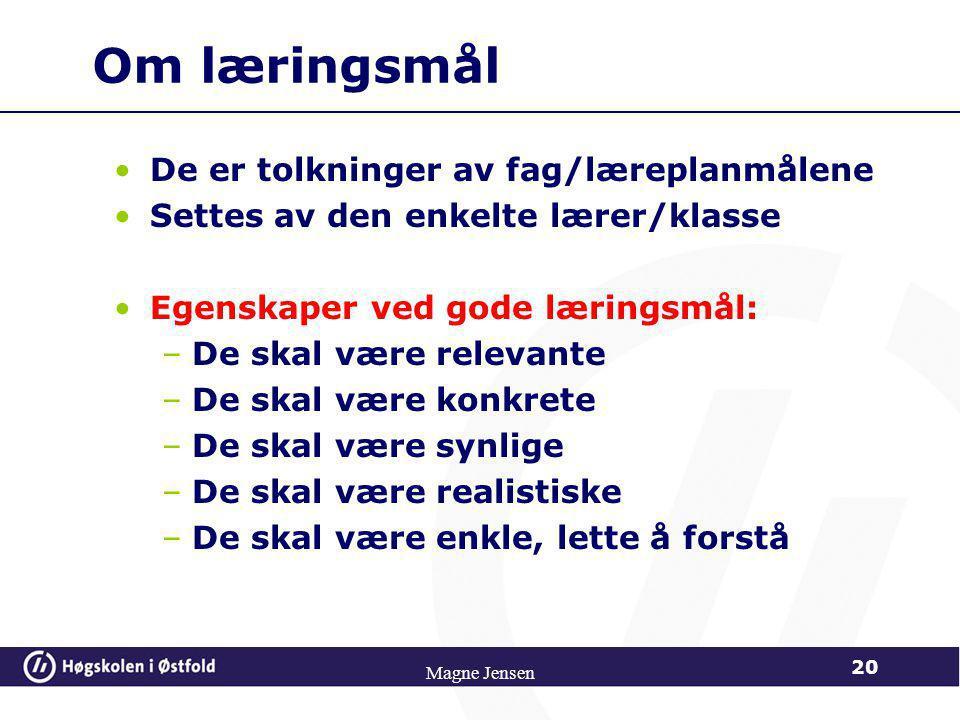 Nedbryting av læringsmål 19 Magne Jensen
