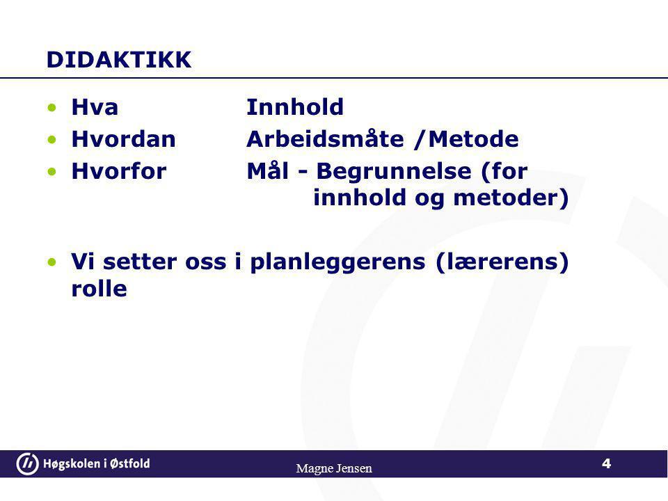 DIDAKTIKK •HvaInnhold •HvordanArbeidsmåte /Metode •HvorforMål - Begrunnelse (for innhold og metoder) •Vi setter oss i planleggerens (lærerens) rolle 4 Magne Jensen