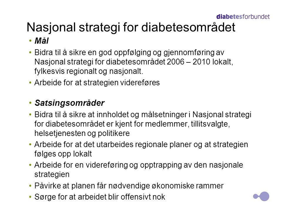 Nasjonal strategi for diabetesområdet •Mål •Bidra til å sikre en god oppfølging og gjennomføring av Nasjonal strategi for diabetesområdet 2006 – 2010 lokalt, fylkesvis regionalt og nasjonalt.