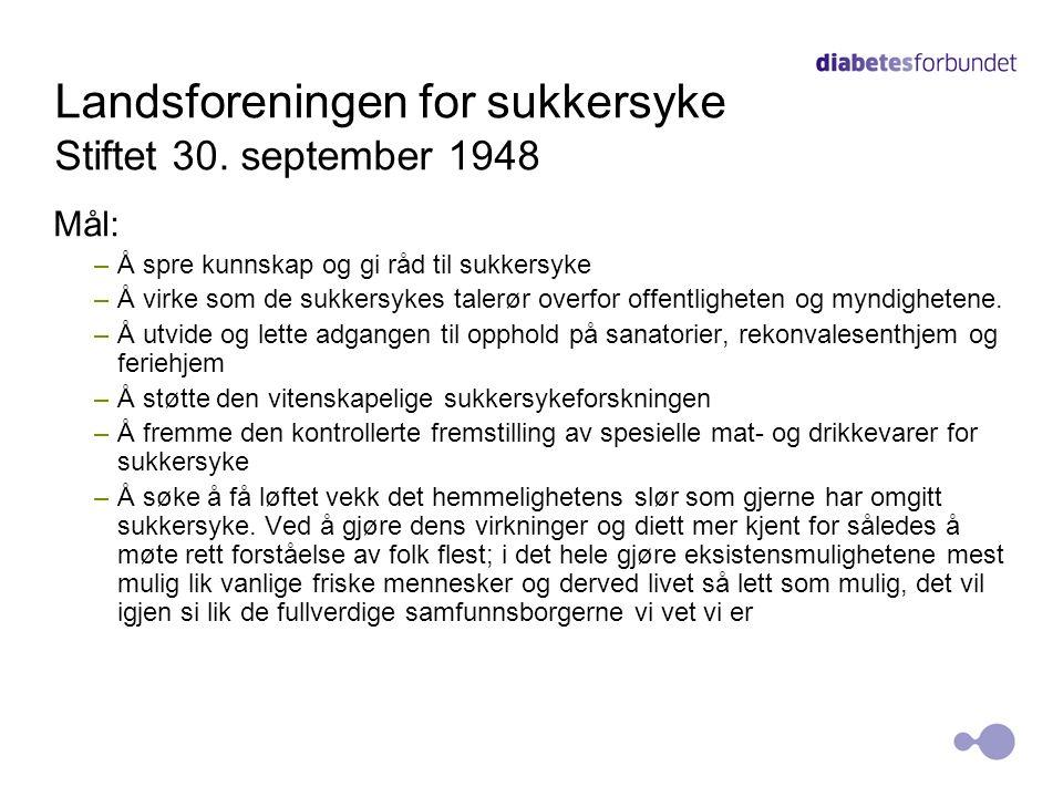Landsforeningen for sukkersyke Stiftet 30.
