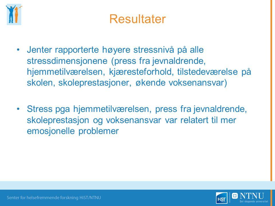 Resultater •Jenter rapporterte høyere stressnivå på alle stressdimensjonene (press fra jevnaldrende, hjemmetilværelsen, kjæresteforhold, tilstedeværel