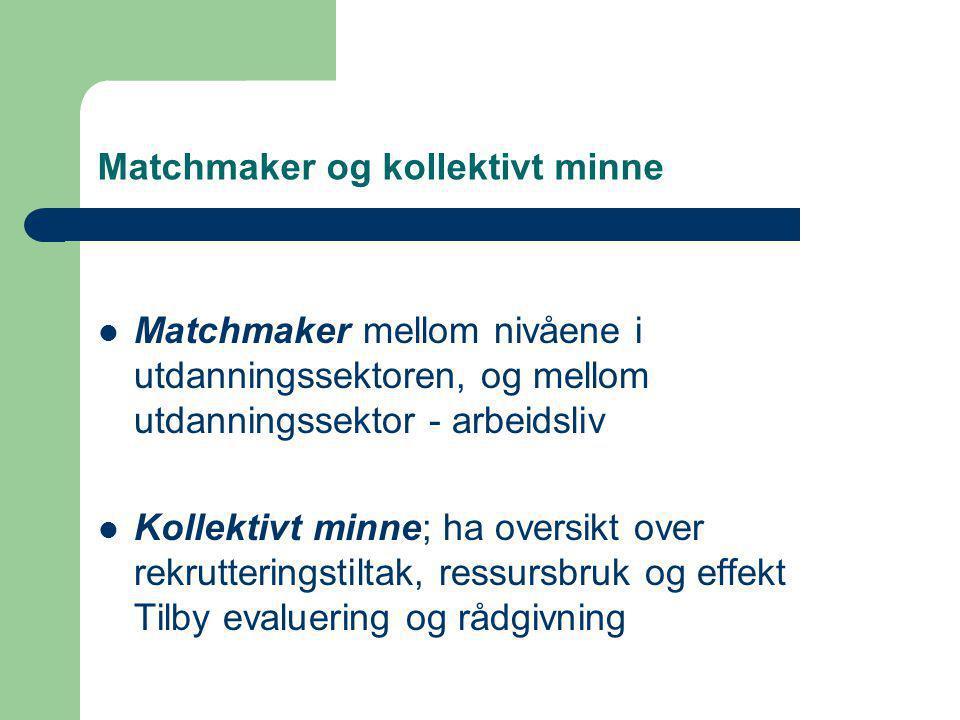 Matchmaker og kollektivt minne  Matchmaker mellom nivåene i utdanningssektoren, og mellom utdanningssektor - arbeidsliv  Kollektivt minne; ha oversikt over rekrutteringstiltak, ressursbruk og effekt Tilby evaluering og rådgivning