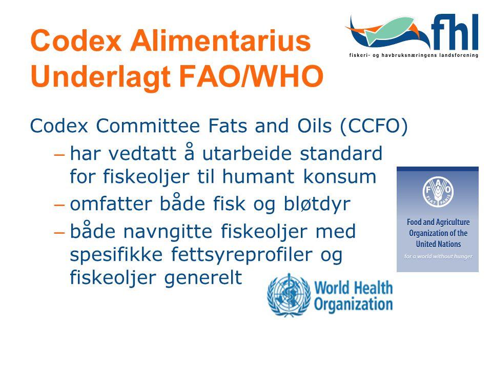 Codex Alimentarius Underlagt FAO/WHO Codex Committee Fats and Oils (CCFO) – har vedtatt å utarbeide standard for fiskeoljer til humant konsum – omfatt