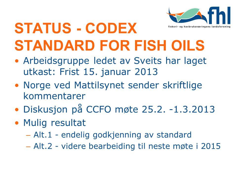 STATUS - CODEX STANDARD FOR FISH OILS •Arbeidsgruppe ledet av Sveits har laget utkast: Frist 15. januar 2013 •Norge ved Mattilsynet sender skriftlige