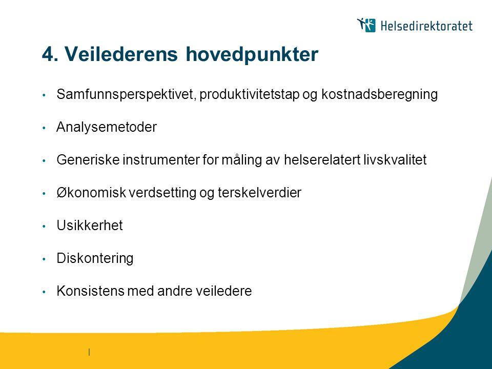 | 4. Veilederens hovedpunkter • Samfunnsperspektivet, produktivitetstap og kostnadsberegning • Analysemetoder • Generiske instrumenter for måling av h