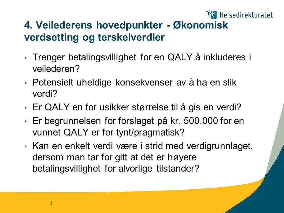 | 4. Veilederens hovedpunkter - Økonomisk verdsetting og terskelverdier • Trenger betalingsvillighet for en QALY å inkluderes i veilederen? • Potensie