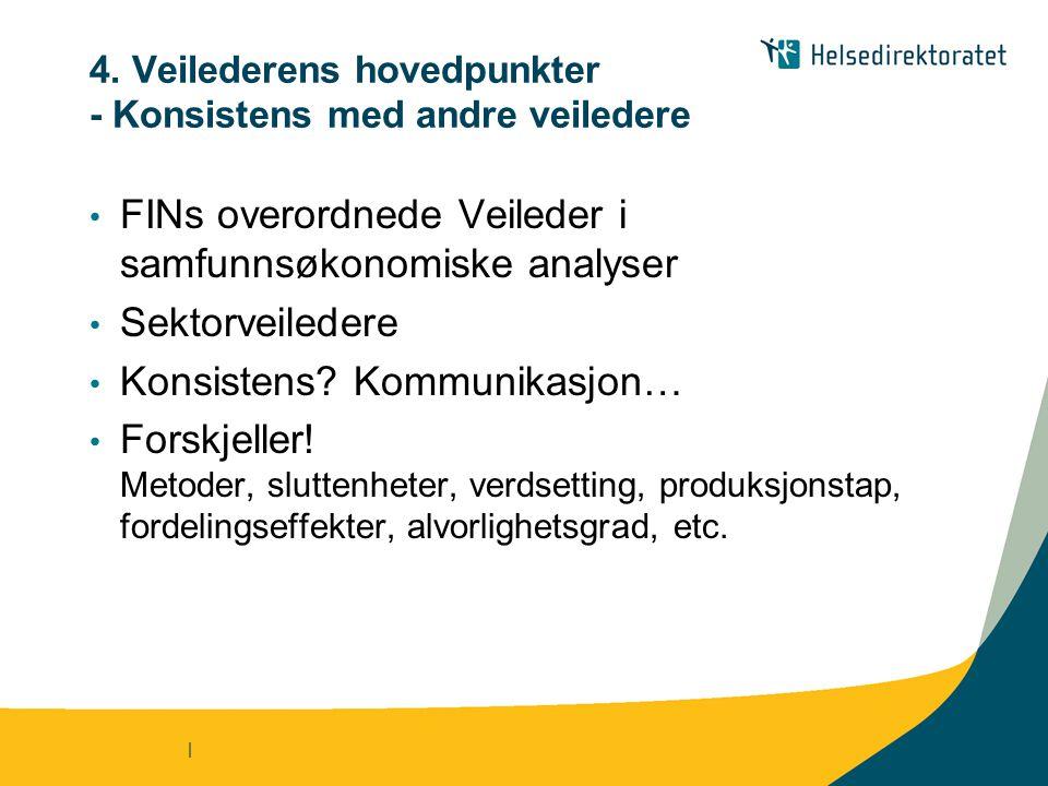 | 4. Veilederens hovedpunkter - Konsistens med andre veiledere • FINs overordnede Veileder i samfunnsøkonomiske analyser • Sektorveiledere • Konsisten