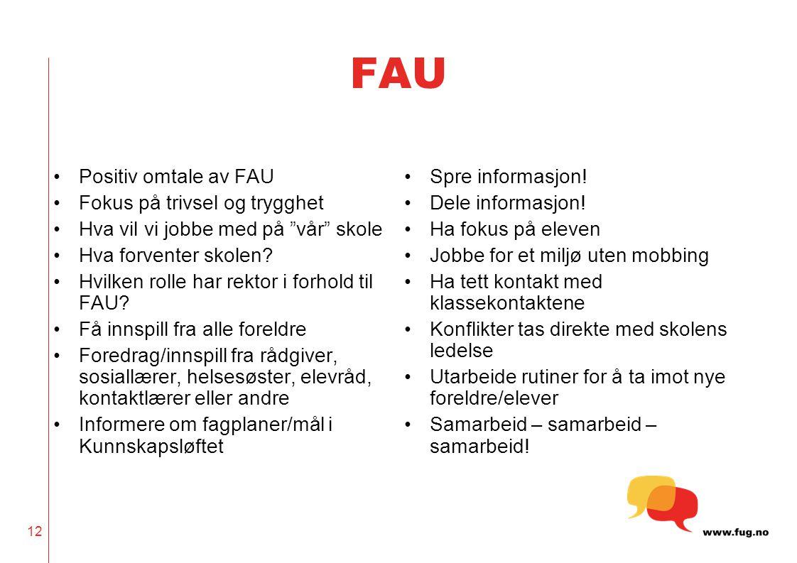 """12 FAU •Positiv omtale av FAU •Fokus på trivsel og trygghet •Hva vil vi jobbe med på """"vår"""" skole •Hva forventer skolen? •Hvilken rolle har rektor i fo"""