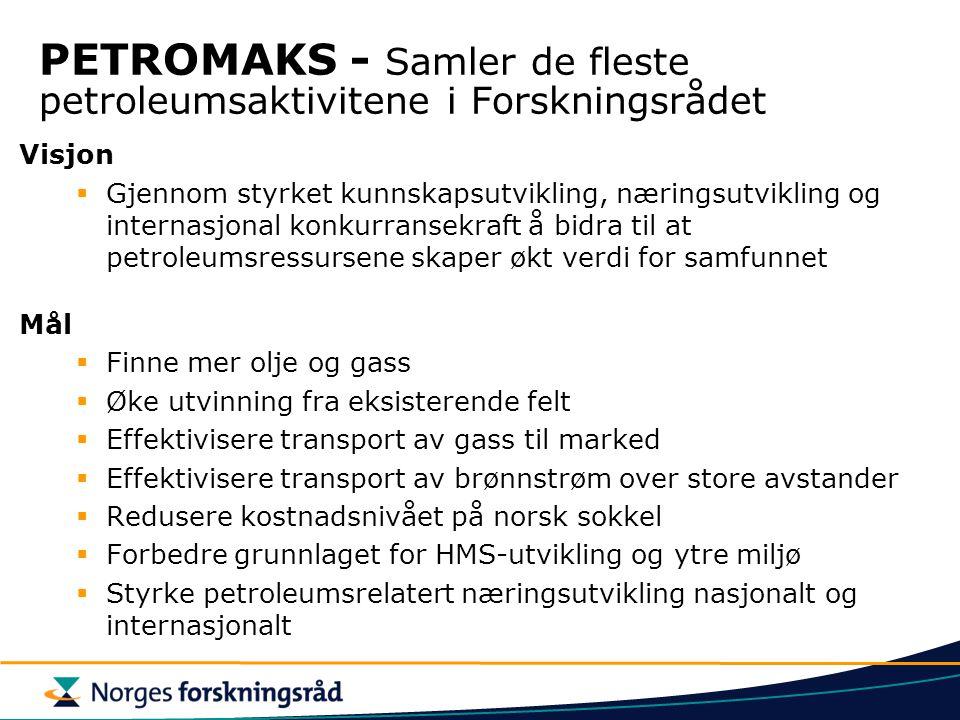 PETROMAKS - Samler de fleste petroleumsaktivitene i Forskningsrådet Visjon  Gjennom styrket kunnskapsutvikling, næringsutvikling og internasjonal kon