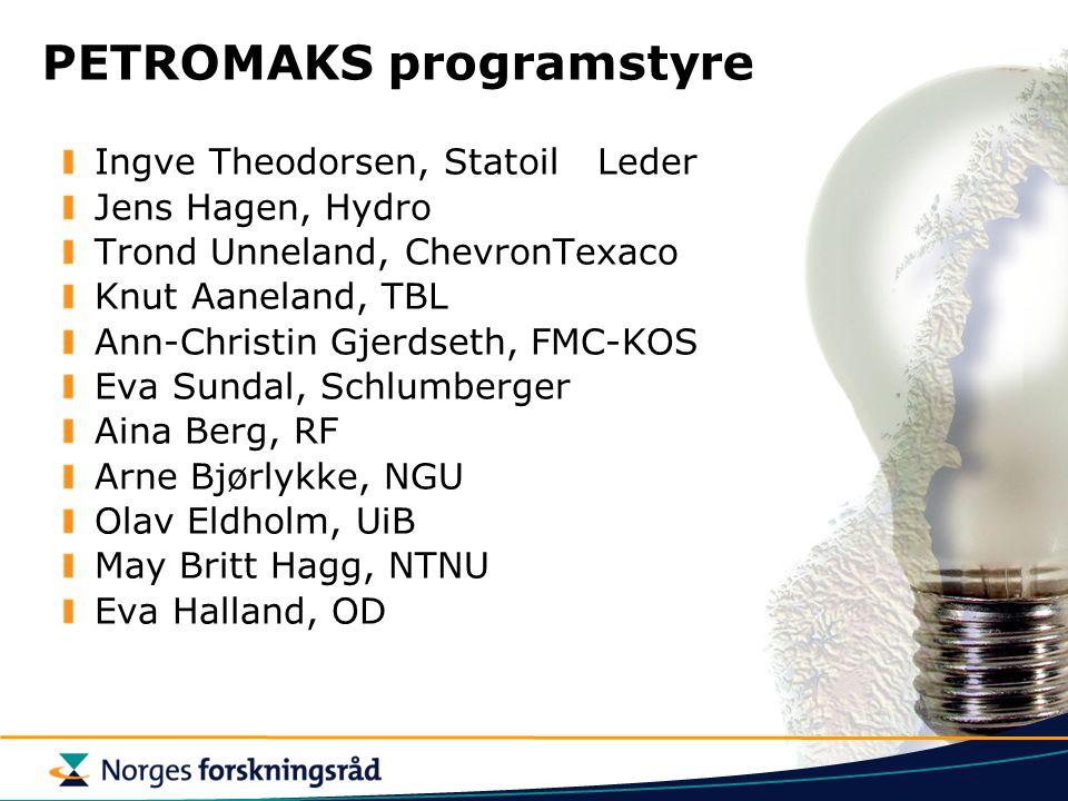 PETROMAKS programstyre Ingve Theodorsen, StatoilLeder Jens Hagen, Hydro Trond Unneland, ChevronTexaco Knut Aaneland, TBL Ann-Christin Gjerdseth, FMC-K