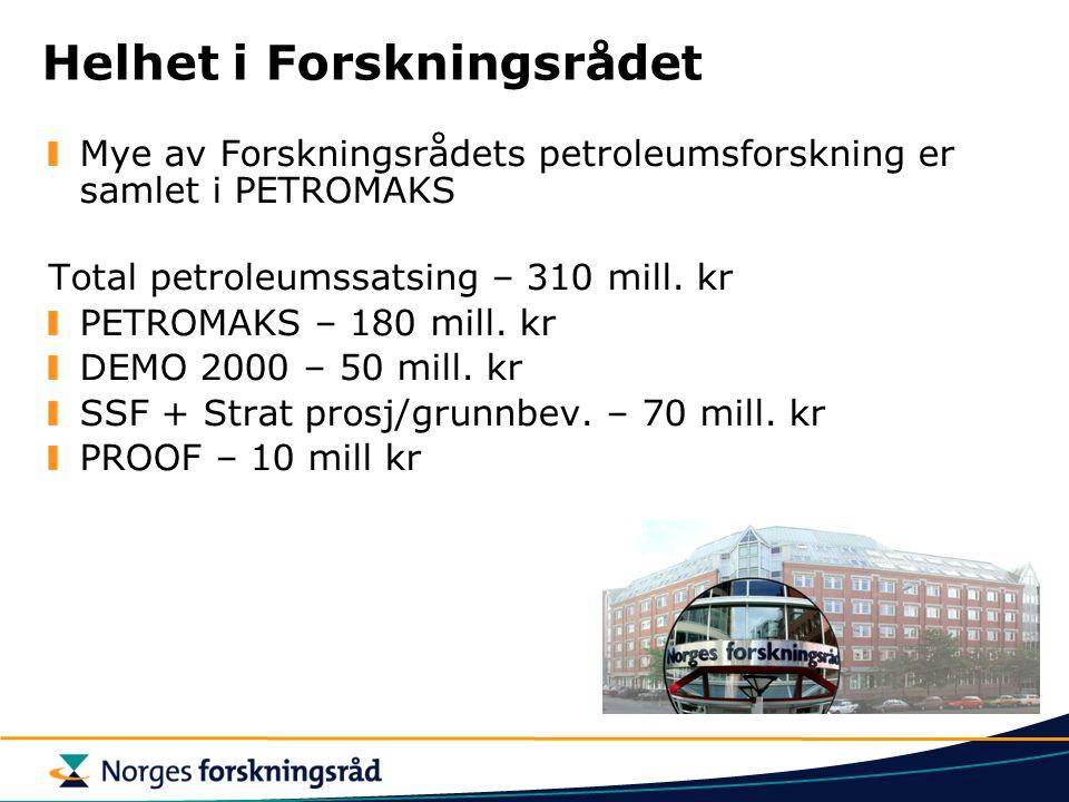 PETROMAKS - Fødsel og forankring Fra Petroforsk og Olje og gass programmet til PETROMAKS i 2004/2005 Forankret i St.prop #1 - Statsbudsjett Budsjett ca 180 mill NOK i 2005 – det største programmet i Forskningsrådet Skal bidra til å realisere OG21 strategi Olje og gass i det 21.