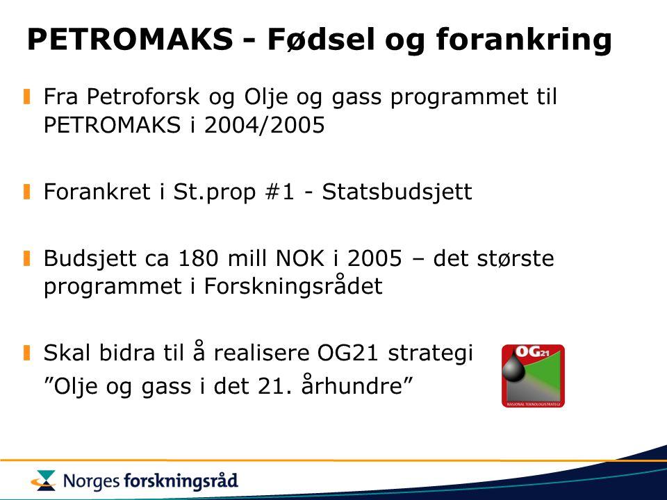 PETROMAKS - Fødsel og forankring Fra Petroforsk og Olje og gass programmet til PETROMAKS i 2004/2005 Forankret i St.prop #1 - Statsbudsjett Budsjett c