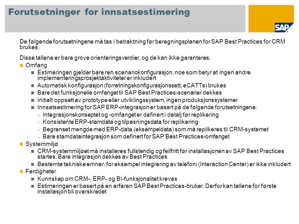 Forutsetninger for innsatsestimering De følgende forutsetningene må tas i betraktning før beregningsplanen for SAP Best Practices for CRM brukes. Diss
