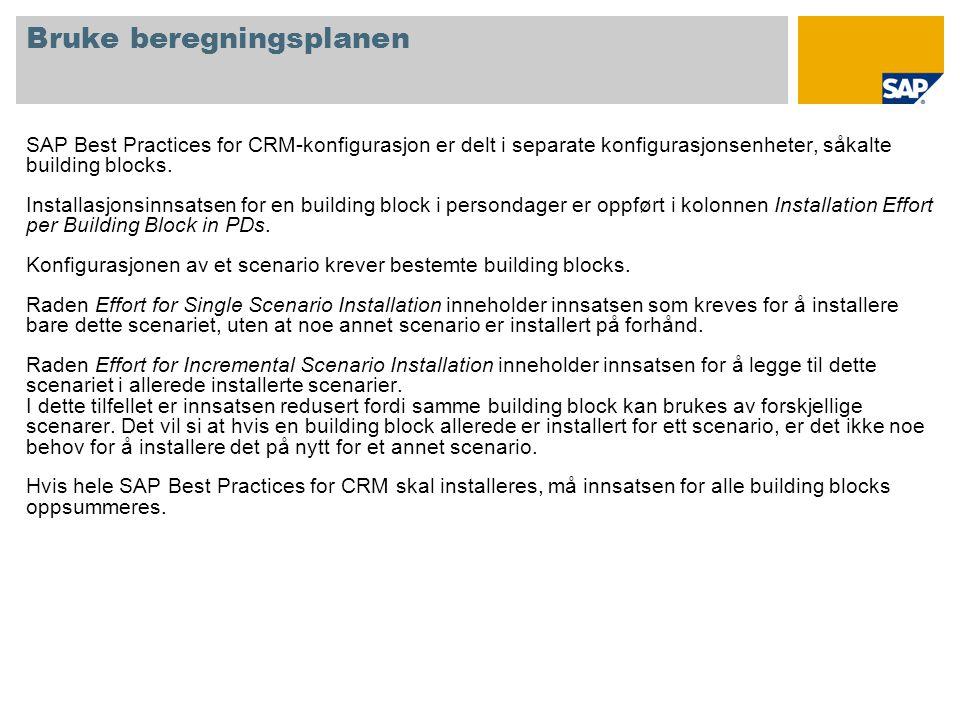 Bruke beregningsplanen SAP Best Practices for CRM-konfigurasjon er delt i separate konfigurasjonsenheter, såkalte building blocks.